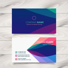 Business card with colorful waves Free Vector