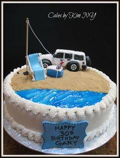 Jeep on the Beach Cake Cupcakes, Cake Cookies, Cupcake Cakes, Happy 30th Birthday, Birthday Cakes, Birthday Parties, Jeep Cake, Beach Groom, Beach Jeep