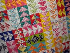 Colorful Flying Geese Quilt