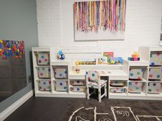 Something like this would still allow for current supply boxes to be stored on top Ikea Toy Storage, Kids Storage, Storage Ideas, Playroom Organization, Ikea Playroom, Playroom Design, Playroom Ideas, Ikea Kids, Dream Desk