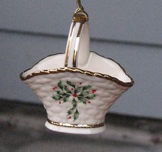 Vintage Christmas Ornament Lenox China Holly by FingerLakesFinds, $20.00