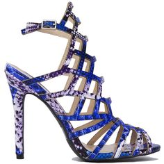 Cutout Caged Heeled Sandals - Blue Multi Snake ($37) ❤ liked on Polyvore featuring shoes, sandals, heels, blue multi snake, snake skin sandals, open toe high heel sandals, snake print sandals, snake skin shoes and snakeskin sandals