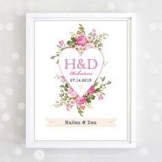 Pretty - Printable Monogram Print Personalized Wedding Date Name Pink.. DIY InstantDownload - Top Fall Crafts for Thursday #crafts #DIY  #crafts #dailycraftinspiration #DIY #homemade #topcraftideas