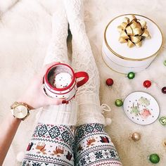 Nothing like a cozy PJ and hot chocolate to get us  through these chilly mornings! @maketodayahollyday ✨ #PJSalvage #PJSxMe