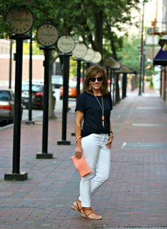 Very Simple and Classy. I have white denim and this tee in coral.
