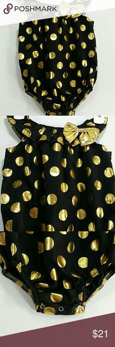 LAST ONE Gold Polka Dots Bodysuit . Kids Beautiful black bodysuit with gold polka dots and a bow. Beautiful!  This is the last one!  This item is brand new and never used. No tags. One Pieces Bodysuits