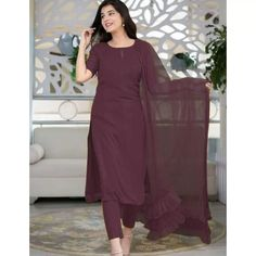 Salwar Suits : Wine rayon thread and sequence work salwar ... Salwar Suits, Patiala Suit, Salwar Kameez, Carnival Store, New Punjabi Suit, Suits For Women, Formal, Lady, Blouse