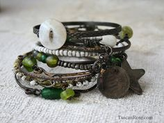 This set of 10 bangles can be worn in a stack or used in parts with other bracelets.   You will receive the 10 bangles pictured. These bangles