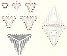 — схема «Капучино» — схема зелёного треугольника — схема «Silver flower» — схема коричневого треугольника со стеклярусом Схемы, найденные