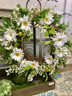 Daisy Wreath on stand Wreaths For Front Door, Door Wreaths, Diy Wreath, Grapevine Wreath, Summer Wreath, Spring Wreaths, Welcome Wreath, How To Make Wreaths, Holiday Wreaths