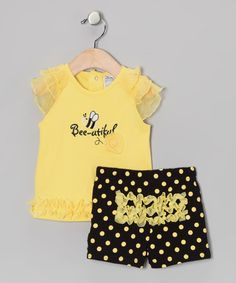 Take a look at this Yellow 'Bee-utiful' Ruffle Top & Black Polka Dot Shorts by Baby Essentials on #zulily today!