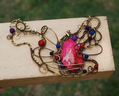 Dunhuang Dance Wire Wrap Fuchsia Pink Sea Sediment Jasper Colorful Art Necklace #Jeanninehandmade #Wrap