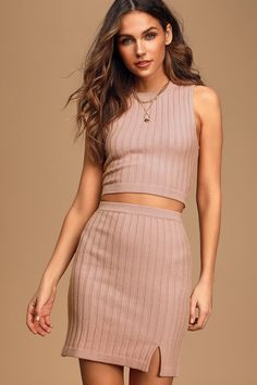 The Lulus Chic Conversation Blush Two-Piece Ribbed Knit Sweater Dress is a stylish-yet-cozy choice! Ribbed twp-piece dress with bodycon silhouette and mini hem. Dresses For Teens, Cute Dresses, Dresses Online, Women's Dresses, Ribbed Knit Dress, Knit Sweater Dress, Sleeveless Crop Top, Online Dress Shopping, Buy Dress