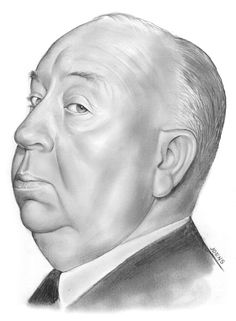 Drawing - Alfred Hitchcock by Greg Joens , Portrait Sketches, Pencil Portrait, Portrait Art, Art Sketches, Celebrity Drawings, Celebrity Caricatures, Celebrity Portraits, Alfred Hitchcock, Hipster Drawings