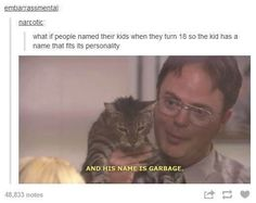 Dwight Schrute Meme about naming your kid right.