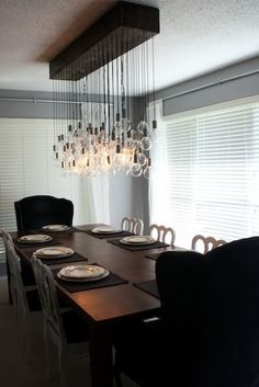 super detailed diy dining room light - could be a good summer-after-the-honeymoon project Diy Light Fixtures, Dining Room Light Fixtures, Dining Room Lighting, Home Lighting, Lighting Ideas, Bubble Chandelier, Diy Chandelier, Deco Luminaire, Home Decoracion