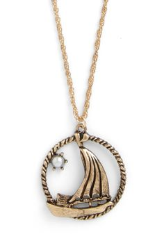 Dreaming of the Sea Necklace. You can add a touch of seafaring style to every ensemble with this long, golden necklace, even when youre far from the coast! #gold #modcloth