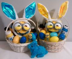 $50 @EBAY  Two Small Blue & Yellow BUNNY MINIONS Easter Gift Baskets #Minions