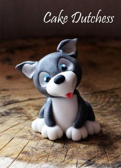 How to Make a Cute Fondant Husky Puppy Dog - Cake Decorating Tutorial Fondant Figures, Chat Fondant, Fondant Toppers, Fondant Dog, Cake Dutchess, Fondant Animals, Animal Cakes, Dog Cakes, Fondant Decorations