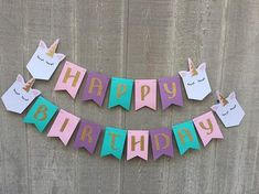 Make your party magical with this beautiful unicorn Happy Birthday banner! This banner is handcrafted with the highest quality materials and would make a great backdrop for a dessert table or photos. Each flag is 3.5 inches x 5 inches. This banner is strung together with hemp cord. To add