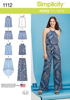 We love jumpsuits, but they're not always the most convenient outfit to wear! Get the jumpsuit look without the jumpsuit hassle with Simplicity pattern 1112. Our easy-to-sew sportswear pattern includes top, pull on pants, shorts, high-low skirt and a sash. Make top and bottom pieces in matching fabric for a modern faux jumpsuit look.