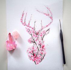 Floral stag deer
