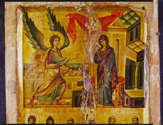 Annunciation and six Stylite Saints · The Sinai Icon Collection Constantine The Great, Ottoman Turks, Byzantine Art, Icon Collection, Roman Empire, Middle Ages, Images, Antiques, Painting