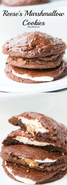 Reese's Marshmallow Chocolate Cookies ohsweetbasil.com