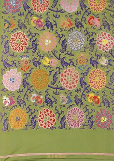 Length of green satin with multi-coloured flowers and fruits in auspicious symbols, (Jiaqing period). Length 500 cm x width c. Textiles, Textile Patterns, Print Patterns, Floral Patterns, Chinese Design, Chinese Art, Thai Design, Motif Design, Art Deco Design