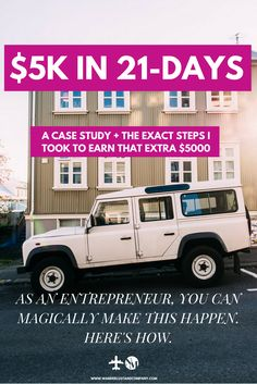 Are you out of ideas to make extra money and earn an income from home? Check out this course challenge, $5k in 21-days challenges you to make $5000 in 3 weeks. For freelancers, bloggers and entrepreneurs that want to shake things up and need cash now for that emergency fund or a trip abroad. Including case study how I made $5k within a month! wanderlustandcomp... #entrepreneur #finance #income #extramoney #income #bloggers #extramoneyfromhome #extramoneyideas #incomereport