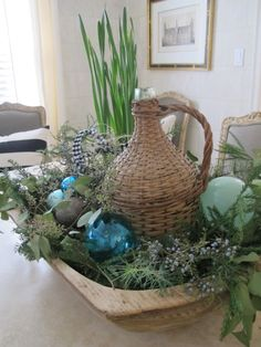 Antique wooden dough bowl with greenery and ornaments