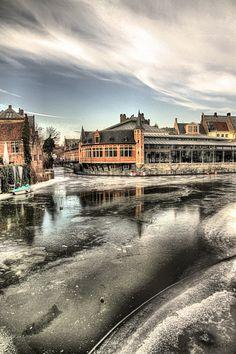 Frozen Lys river in Ghent, Belgium