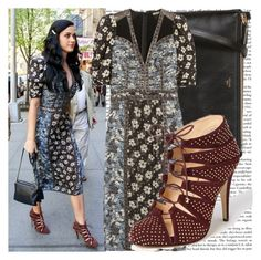 """""""at kinky boots, in new york city."""" by valerieking ❤ liked on Polyvore featuring CÉLINE, Bottega Veneta, Bionda Castana, cage sandals, floral dresses, lace-up booties, floral print, bionda castana, katy perry and printed dress"""