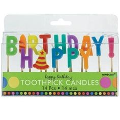 Dots and Stripes Happy Birthday Toothpick Candles