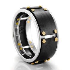 WILLIAMS BLACK Cobalt Ring – Heavy Stone Rings – Men's Wedding Bands