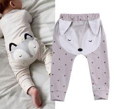 Inferior Harém Calças PP Calças Do Bebê Das Meninas Dos Meninos Do Bebê Recém-nascido Meninos Meninas Calças Casuais Longos Bonitos Animais Raposa