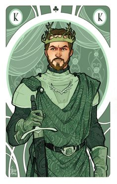 Renly Baratheon and Loras Tyrell, the King and the Jack of flowers. Illustration for my personal version ofGame of Thrones' cards
