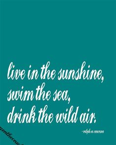The last line is tattooed on my back - drink the wild air - be free, breathe deep, inhale the good exhale the bad, clarity.
