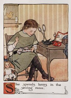 Mary Frances discovers the quiet joys of sewing for her doll.  Courtesy, The Winterthur Library: Printed Book and Periodical Collection.