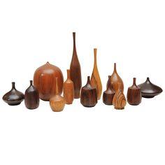 Turned wood vessels, USA, 1960s.