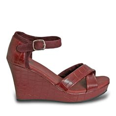 Women's Kaymann 4-inch Sandal Wedges - Burgundy Crocodile
