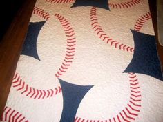 Learn to Sew an Exquisite Baseball Quilt - Matt and Shari Quilting Tips, Quilting Projects, Quilting Designs, Sewing Projects, Fun Projects, Quilt Baby, Star Quilts, Quilt Blocks, Baseball Quilt