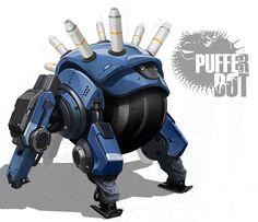 Puffer Bot, Bruno Gauthier Leblanc on ArtStation at https://www.artstation.com/artwork/4a364