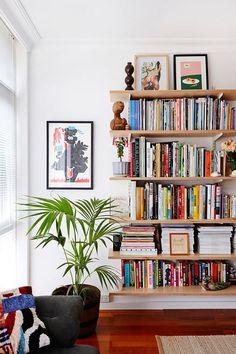HOME // The Design Files. Bookshelves don't have to have sides. Decor, Interior, Bookshelf Decor, Living Room Decor, Home Decor, Room Inspiration, House Interior, Bookshelves In Living Room, Trendy Home