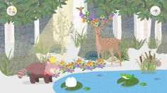 Flap's app, Roo & Pibi's mobile application screen image. Let fawn have sunlight to grow antlers.