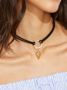 Gargantilla con colgante geométrico dorado - negro-Spanish SheIn(Sheinside)
