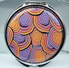 Compact mirror polymer clay covered Big by rivervalleydesign