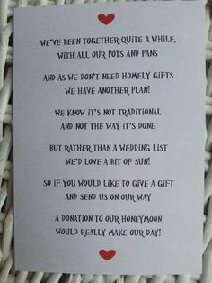 A Donation to Our Honeymoon - Wedding Poem