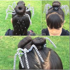 Intricate spider hairstyle - this is so amazing for Halloween! And it would be great for crazy hair day too. My little girls would love this hairstyle!