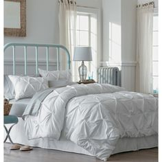 Threshold™ Pinched Pleat Comforter Set - White (full/queen)